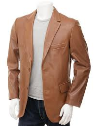 men s tan leather blazer magdeburg front