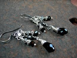 elegant sparkling mini chandelier earrings black silver sophisticated boho