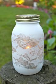 love this spray painted over lace mason jar