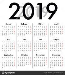 Best 2019 Calendar Design German Deutsch Calendar Grid Regular Digits 2019 Best