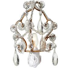gold chandelier night light with clear dangles