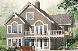 Lakefront home designs  amp  waterfront cottage house plans from    Greenfeld Panoramic to bedroom chalet   open floor plan  fireplace  mezzanine