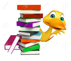 3d rendered ilration of duck cartoon character with book stack stock ilration 53173284