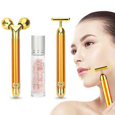 3 in 1 Energy <b>Beauty Bar 24k Golden</b> Vibrating Facial Roller ...