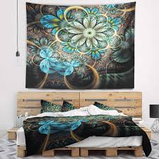 Olivia & may opalhouse ore international oxo park designs park hill collection patton patton wall decor pearhead philips pillow perfect pillowfort plano pleasant hearth plum. 60 X 50 Designart Tap7284 60 50 Lighted Fractal Blue Flowers Floral Blanket Decor Art For Home And Office Wall Tapestry Created On Lightweight Polyester Fabric Large