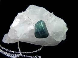 cyan eco friendly necklace with maine tourmaline and recycled sterling silver handmade in concord ma