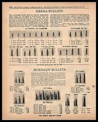 1955 Sierra And Hornady Bullets Ammunition Chart Print Ad W