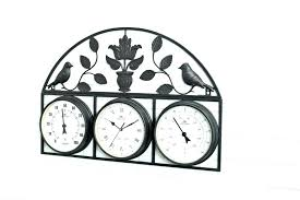 double sided outdoor clock round wall hanging with plant hangers on