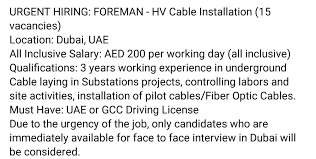Cable Installation Job Oil And Gas Jobs Foreman Hv Cable Installation 15 Vacancies