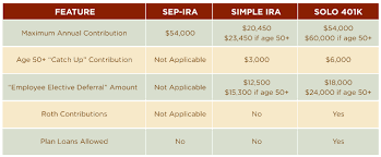 Simple Ira Vs Sep Ira Chart Solo 401k Best Retirement Plan For Self Employed Business