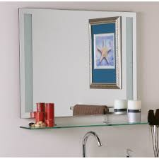Frameless Bathroom Mirror Brayden Studio Frameless Wall Mirror With Shelf Reviews Wayfair