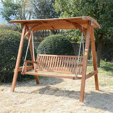 outsunny deluxe 3 seat hardwood a frame patio swing