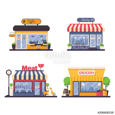 Detailed Storefront For Grocery And Meat Shop Bakery Coffee Cafe