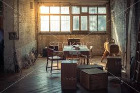 retro office. Retro Office Space With Books, Furniture And Sun Flare