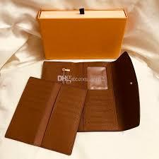 france designer women long checkbook wallet credit card photo holder wallet brown mono gram white checd canvas leather mens front pocket wallet brown