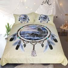 dreamcatcher bedding 3d wolf duvet cover set digital print 3pcs multicolor queen