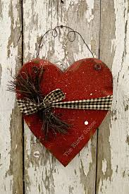 valentine decor primitive wood heart barn red by therustygoose 15 95