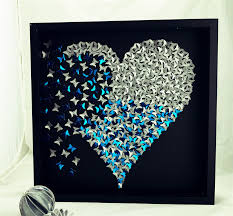 erfly heart frame wall art sparkly silver heart in 3d wooden frame