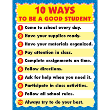 Motivational Charts For School Chartlet 10 Ways Good Student 17 X 22