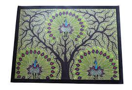 Mithila Painting Bed Sheet Design Amazon Com Sarita_creations Frameless Peacock Handmade