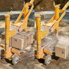 a machine splitting retaining wall blocks in half construction pro tips