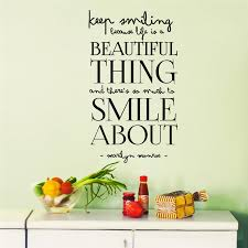 Beautiful Food Quotes Best of Marilyn Monroe Famous Quote Beautiful Thing Smile Home Decals Wall
