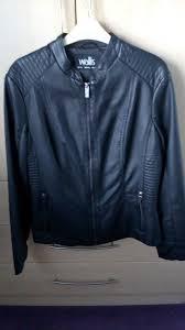 wallis black faux leather jacket brand new size 14