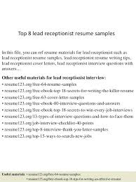 Cover Letter For Medical Receptionist Stunning Samples Of Receptionist Resumes Receptionist Resumes Examples Entry