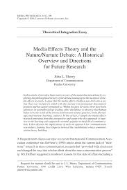 media effects theory and the nature nurture debate a historical  media effects theory and the nature nurture debate a historical overview and directions for future research pdf available