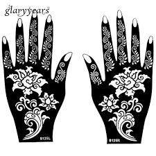 оптовая продажа горячая 1 пара хна татуировки трафарет красивый цветочный узор