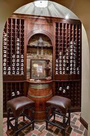 wine barrel chandelier wine cellar traditional with bar stool brick floor stone stool wine