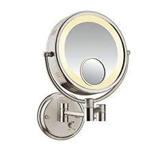 conair double sided lighted wall mount mirror brushed nickel