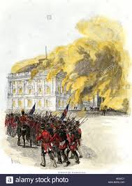 british army burning the white house in 1814 during the war of 1812 stock image
