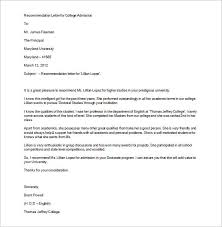 sample letter of recommendation for college student 12 college recommendation letters doc pdf free