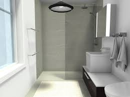 curbless bathroom shower with glass panel