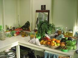 kitchen counter with food. Counter-with-food-shelves-ideas-wall-woman-at- Kitchen Counter With Food I