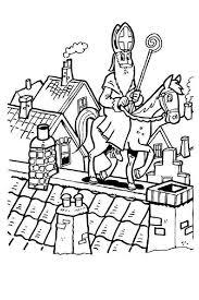 Sinterklaas Kleurplaat Sint Paard Staf Schoorsteen Dak Sint
