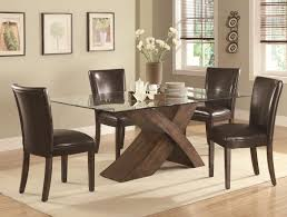 glass dining room set. Nessa Deep Brown Wood And Glass Dining Table Set Room P