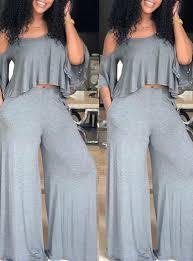 Women's 2-Piece Pant Set - <b>Cold Shoulder Ruffled</b> Top / Bell Bottom ...