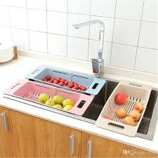 vegetable organizer stretchable home sink dish plate drainer basket vegetable fruits organizer storage washing draining rack
