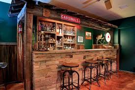 Rustic Bar with Built-in bookshelf, High ceiling, flush light, Concrete  floors