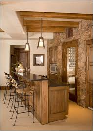 craftsman style pendants are looking oh so perfect in the rustic outlook of this wine bar