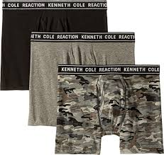 Kenneth Cole Reaction Mens 3 Pack Boxer Brief Medium Grey
