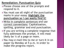 remediation punctuation quiz ppt remediation punctuation quiz