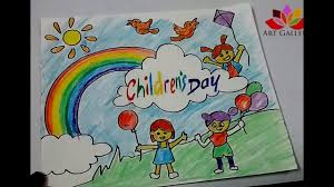 How To Make Children S Day Chart How To Draw Children Day Easy Drawing