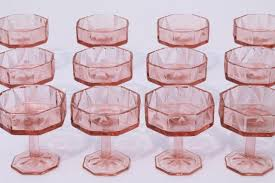vintage pink glass champagne glasses deco style octagon shape geometric line triangles