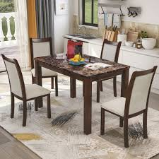 Harper Bright Designs Dining Kitchen Table Set With Chairs 5 Piece Dining Table Set