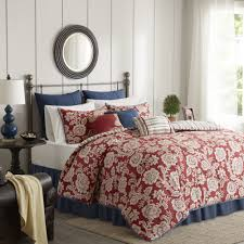 madison park georgia red cotton twill reversible 9 piece duvet cover set free today com 19601066