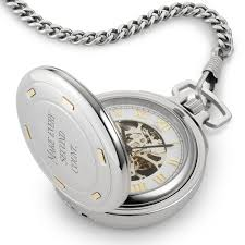 engraved pocket watches at things remembered stainless steel skeleton pocket watch 14k gold accents