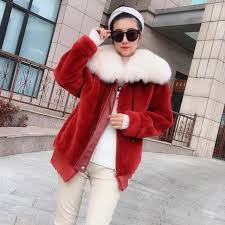 most popular 2018 clothes real fur coat women natural merino sheep fur genuine leather jacket with real fox fur collar plus size